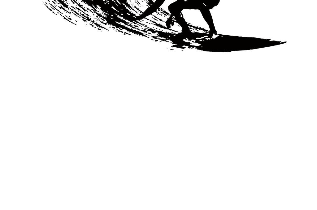 运动人物简笔画人物剪影冲浪运动海浪