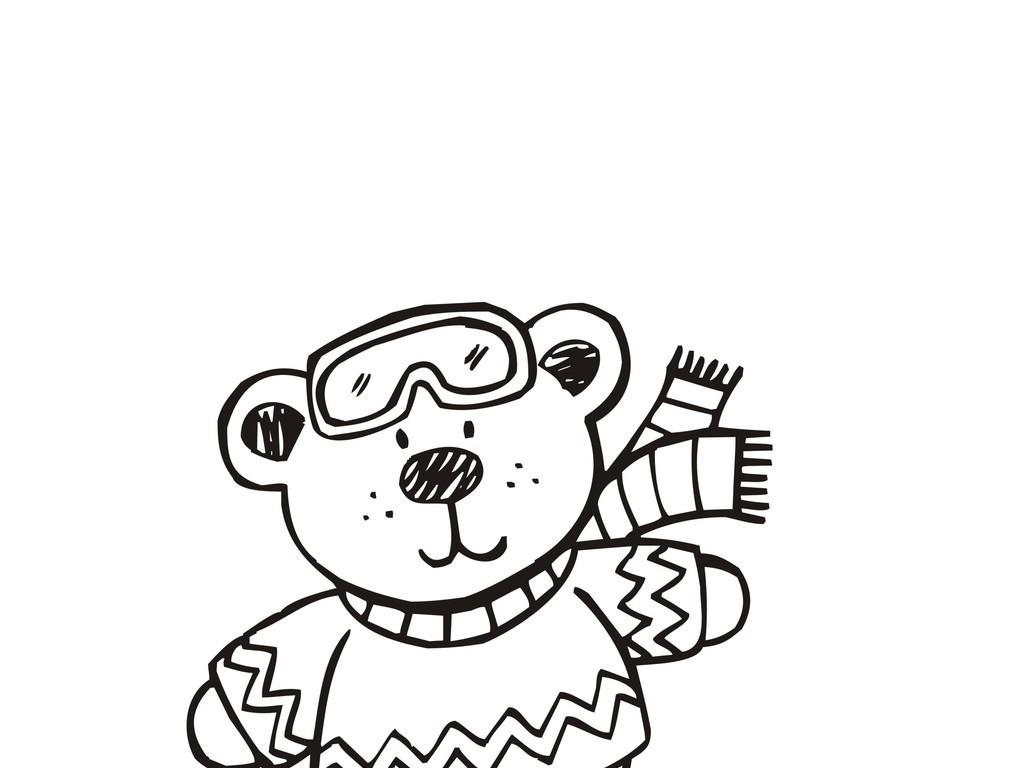 黑白插画                                  卡通动物