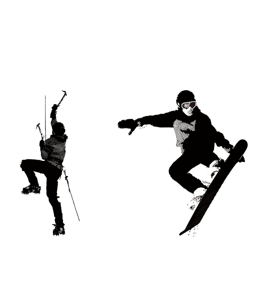 运动人物简笔画人物剪影滑雪运动员