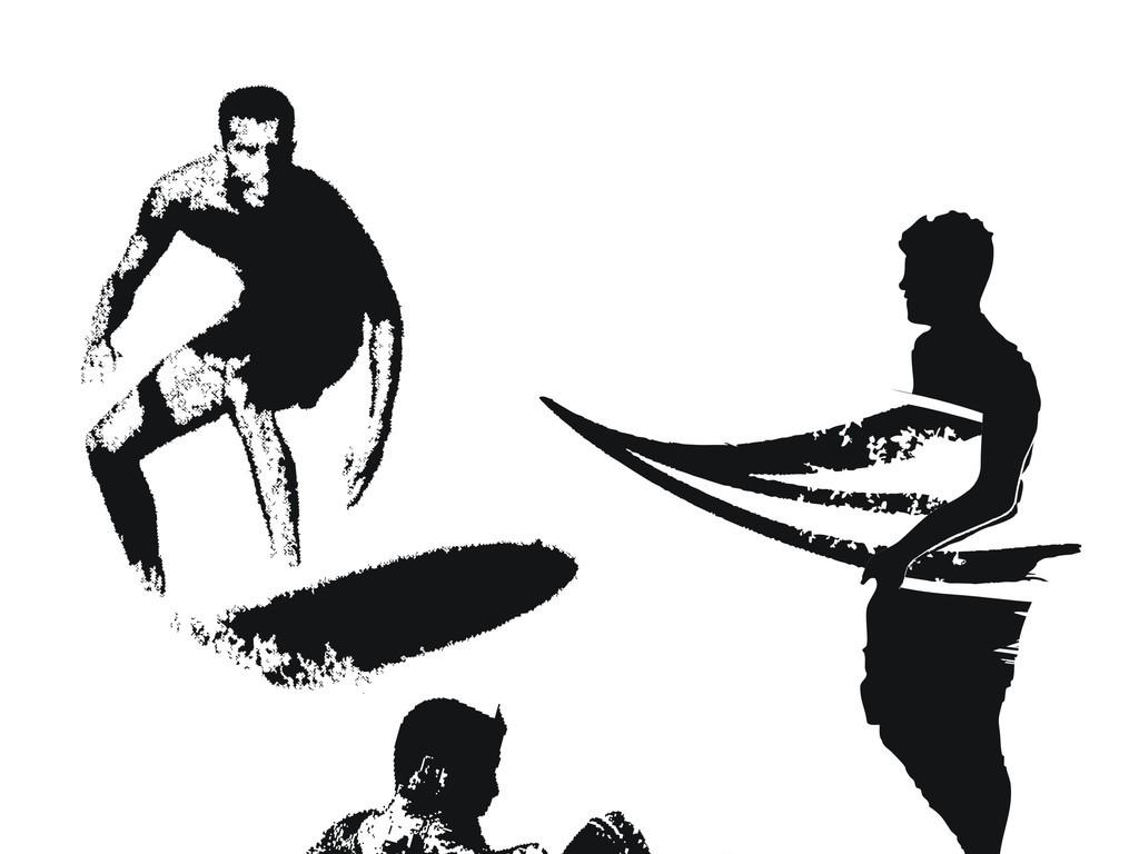 运动人物简笔画人物剪影海上冲浪运动