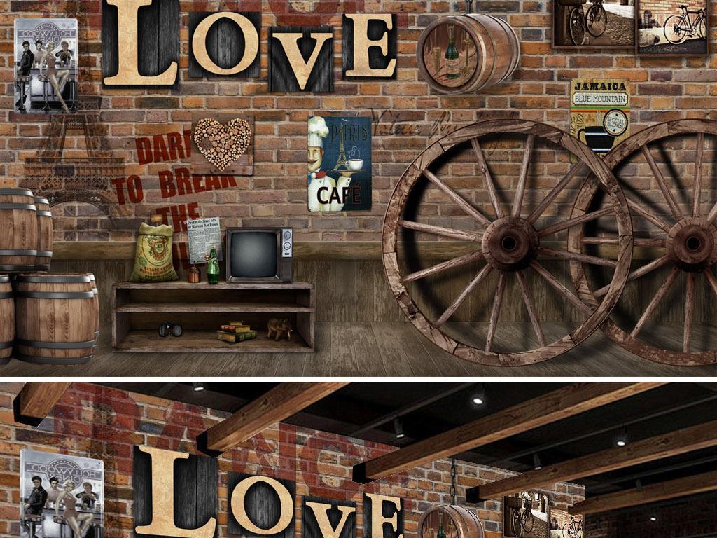 复古怀旧车轮酒桶酒吧背景墙