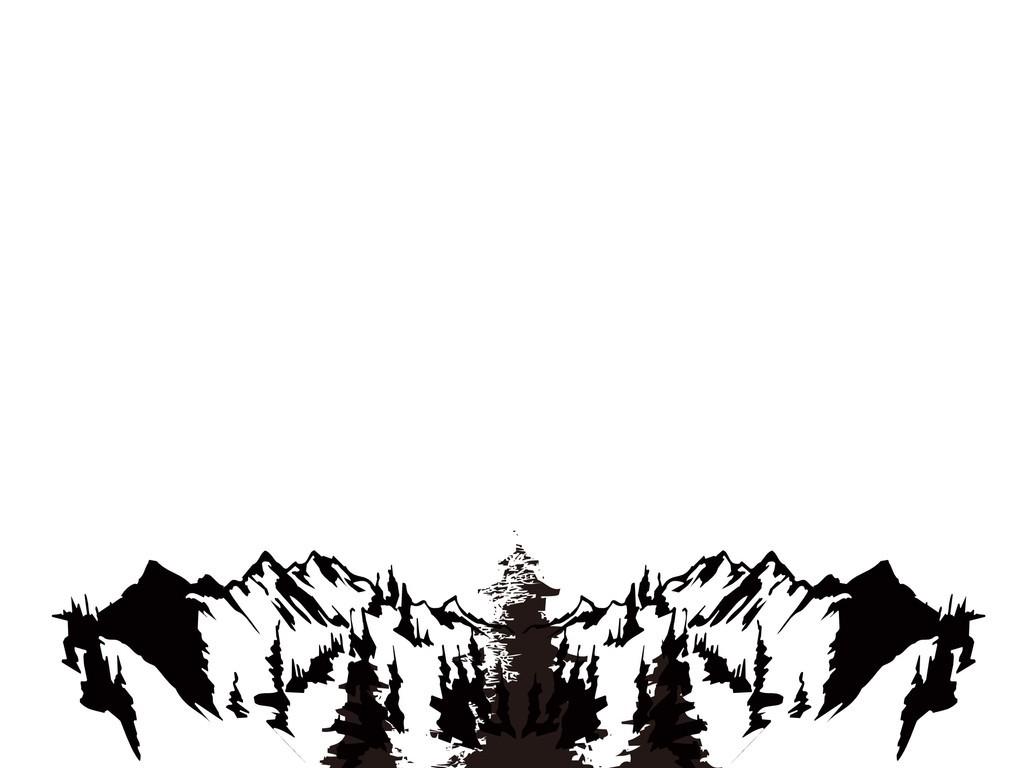 黑白插画                                  雪山