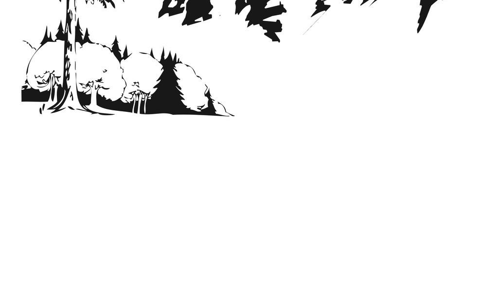 山脉简笔画山脉剪影黑白画树山峰