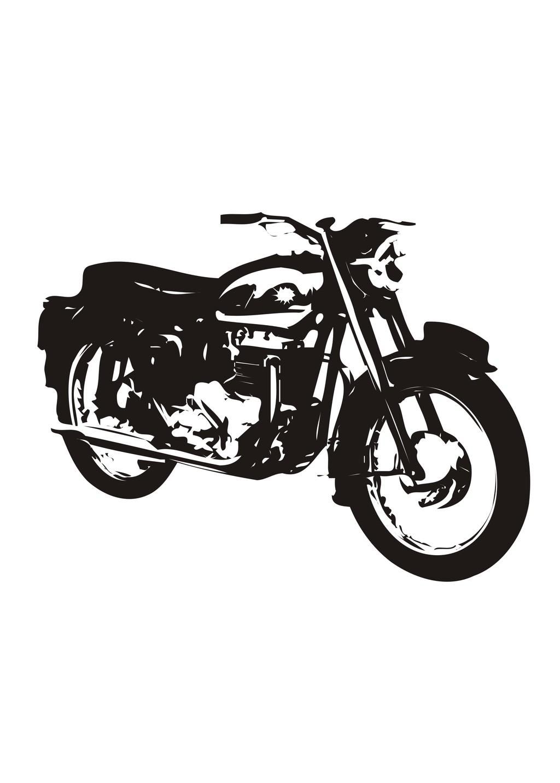 交通工具摩托车简笔画生活元素剪影
