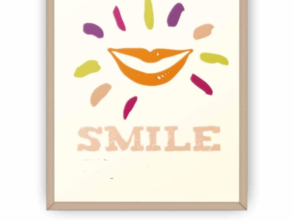 创意简约励志挂画企业文化展板之微笑生活图片