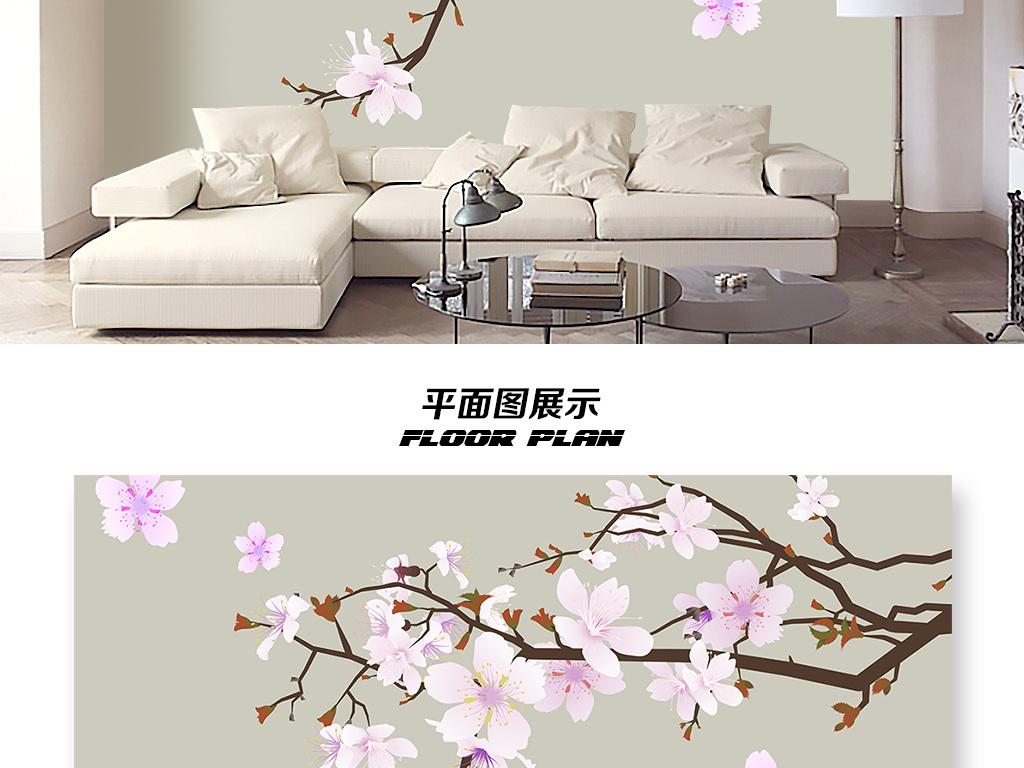 手绘新中式工笔桃花电视背景墙壁画