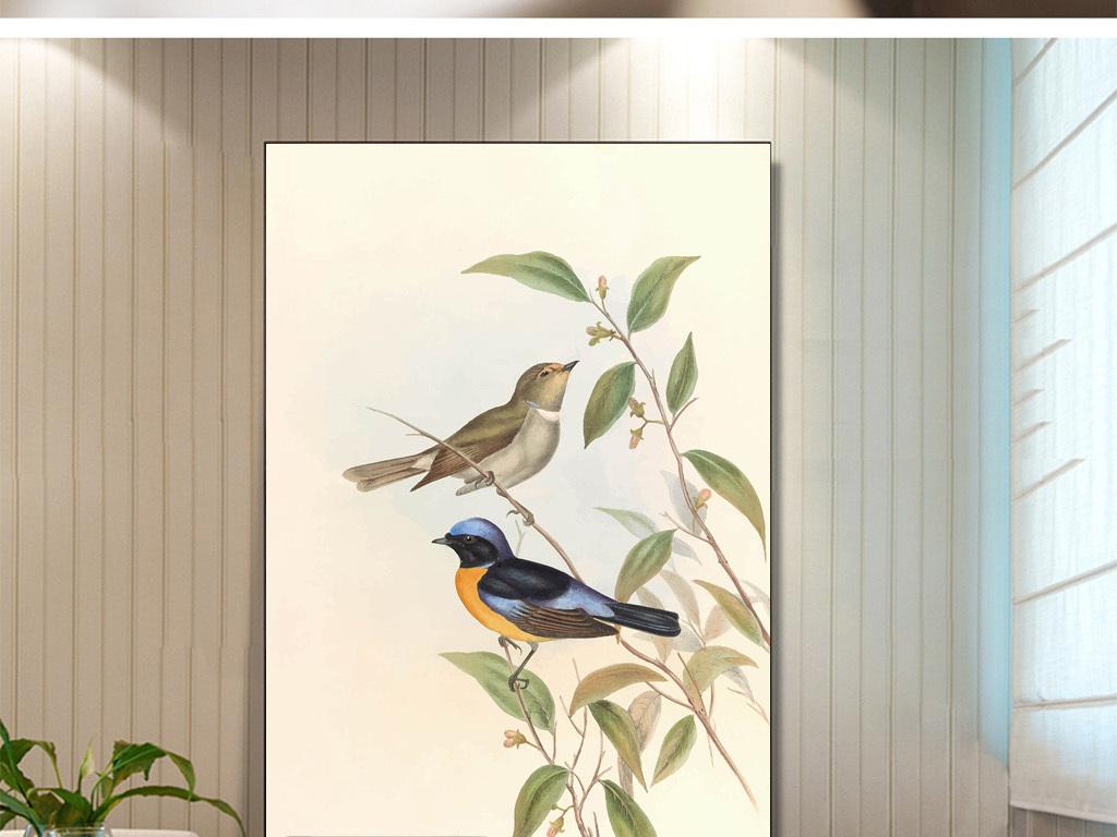 新中式手绘飞鸟无框画