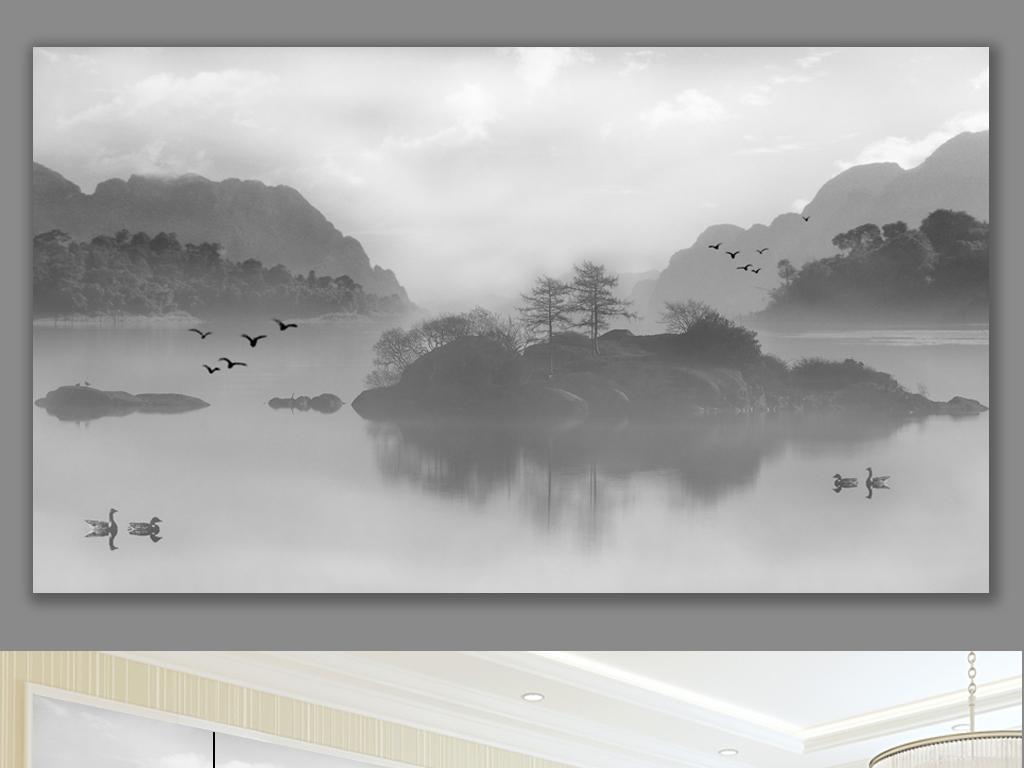 新中式禅意水墨山水画