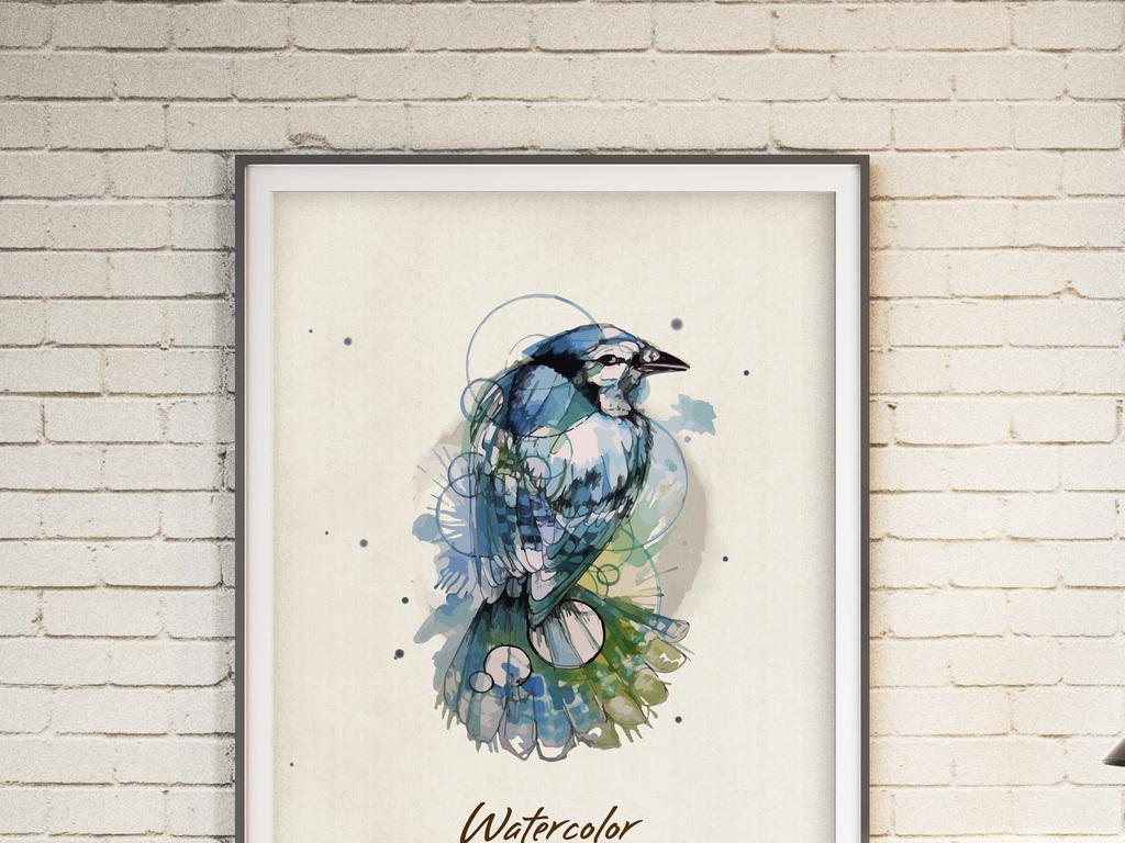 北欧创意水彩花鸟无框画(图片编号:16003688)_动物无