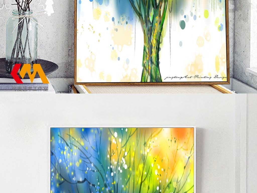 手绘北欧抽象生命树油画客厅装饰画