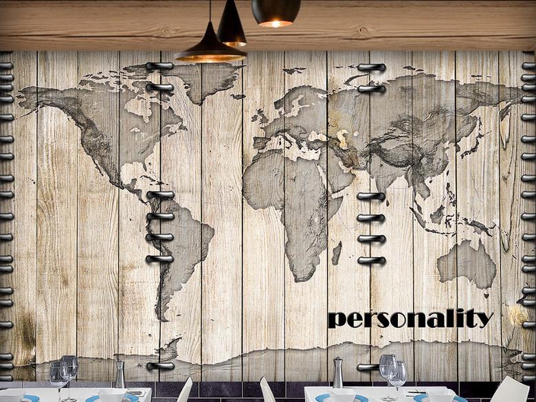 创意个性地图木纹酒吧咖啡厅背景墙
