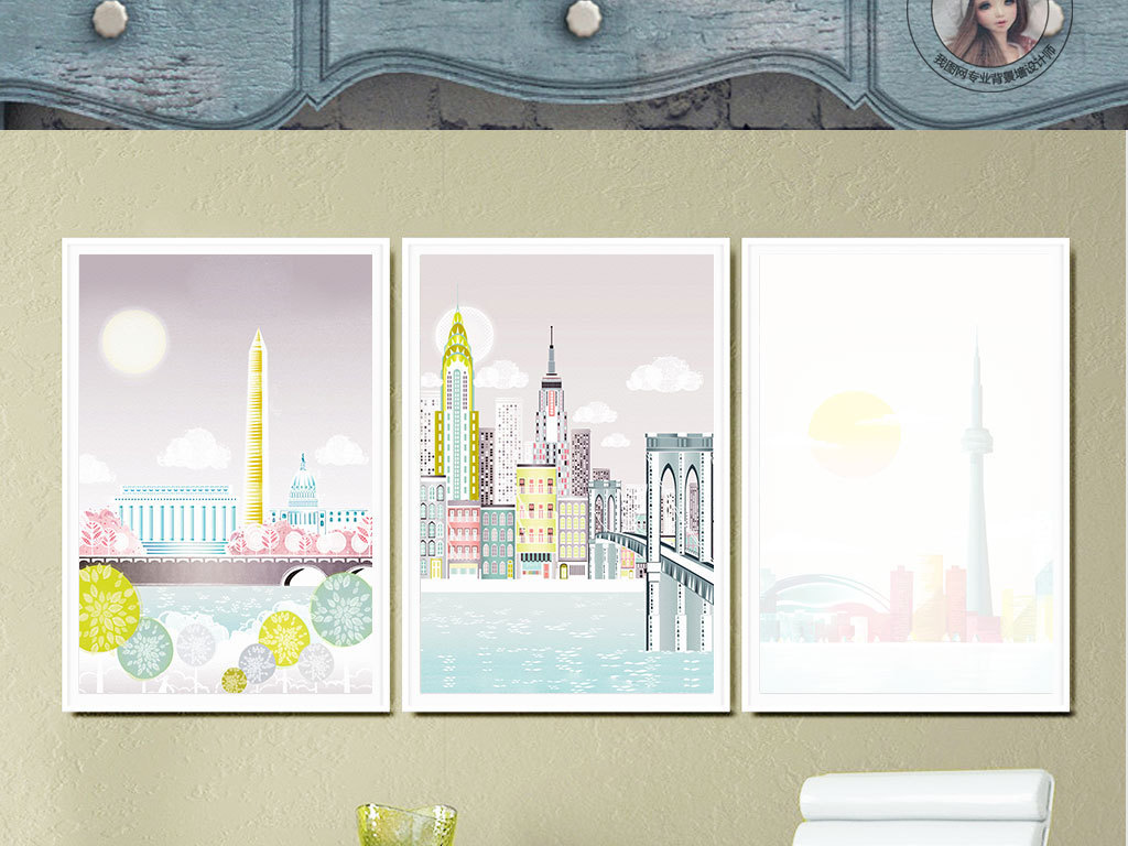 书房客厅酒店装饰画手绘卡通手绘建筑世界卡通世界卡