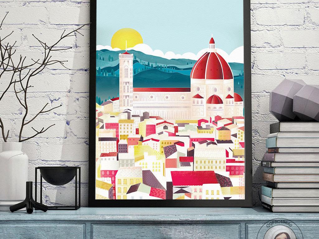 创意手绘海边别墅城市建筑儿童卧室装饰画