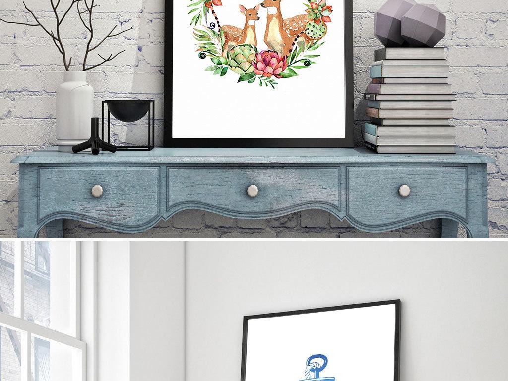 创意手绘麋鹿船锚图案无框画