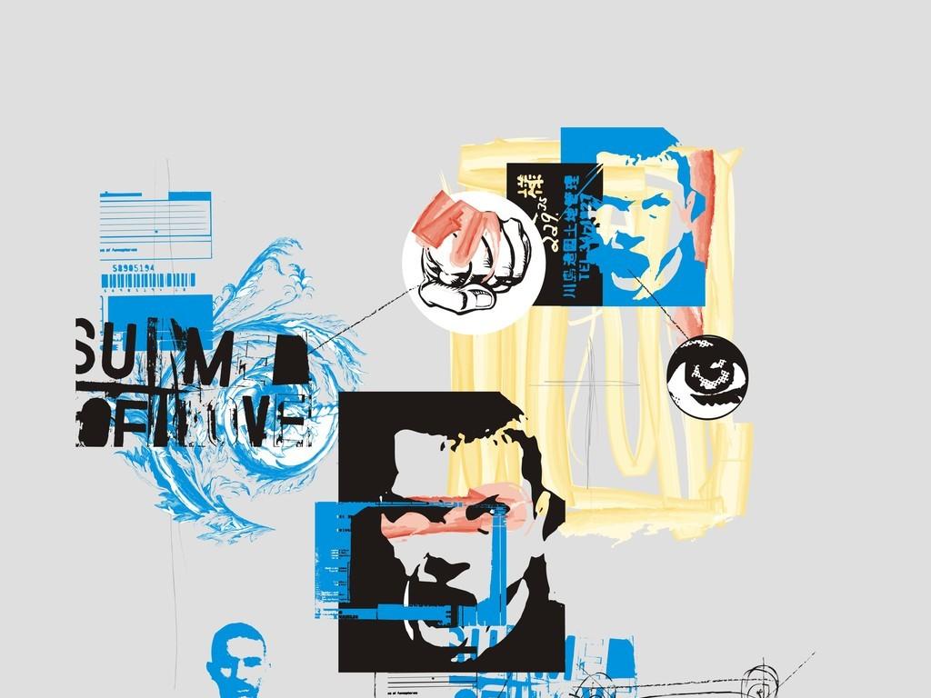 欧美插画人物头像广告平面设计素材抽象几何