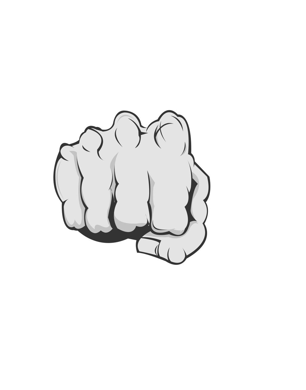 欧美插画广告平面设计素材拳头手