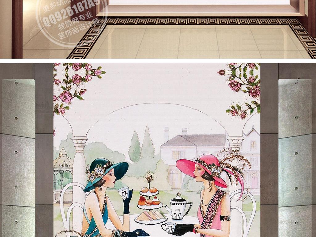 欧式手绘工装服装店首饰美女工装玄关