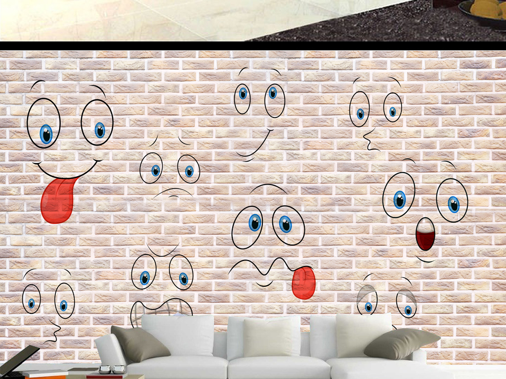 可爱笑脸时尚手绘墙面背景墙(图片编号:16004974)_3d