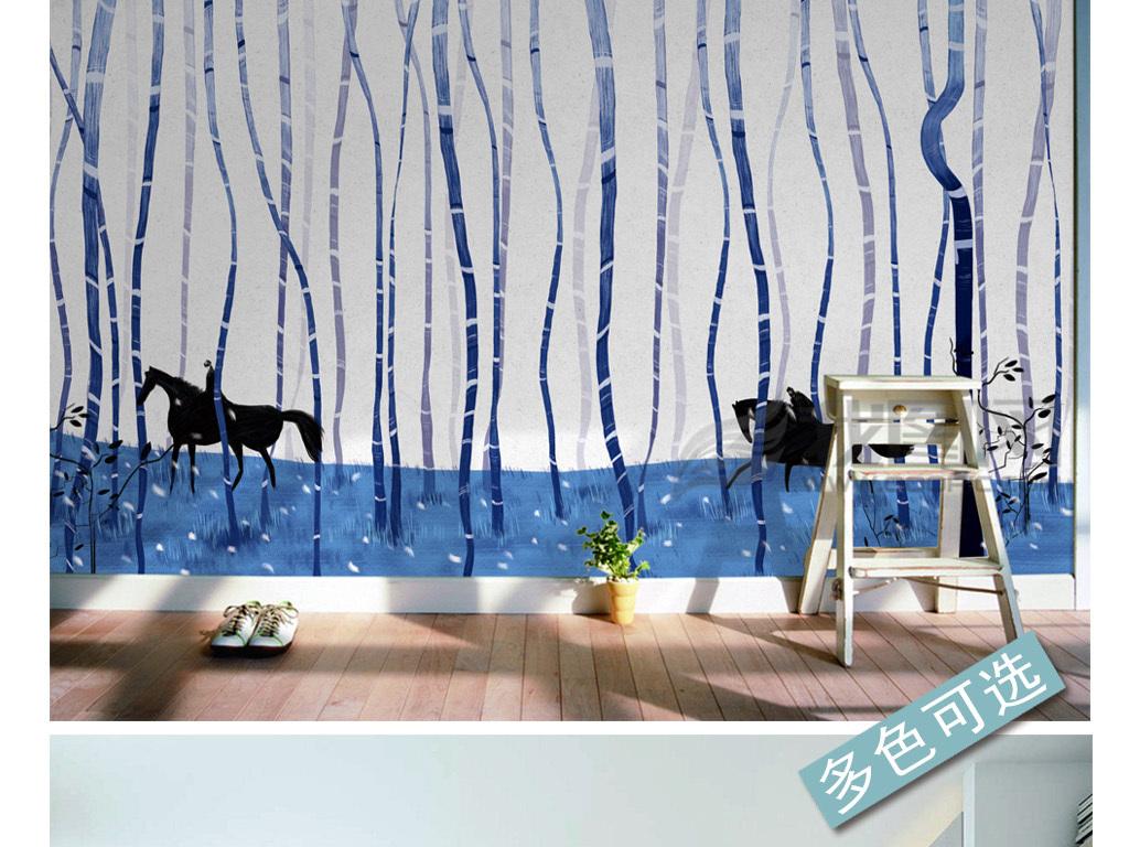 手绘现代简约树林背景墙装饰画