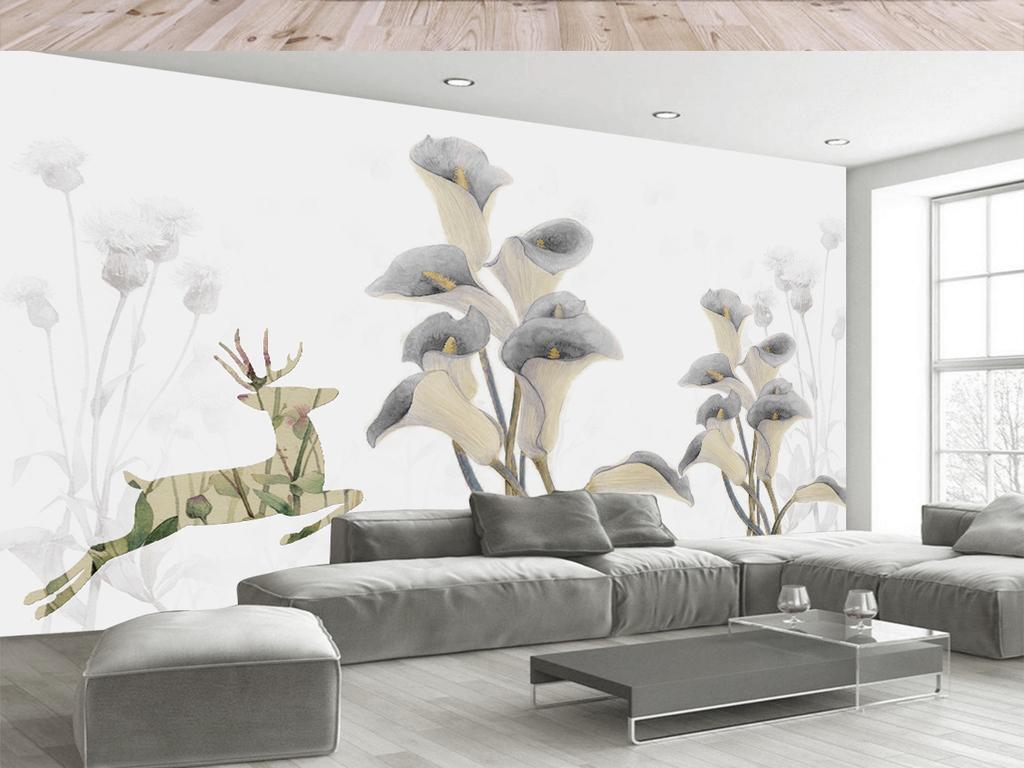 复古风抽象手绘小鹿花朵电视背景墙(图片编号:)_欧式图片