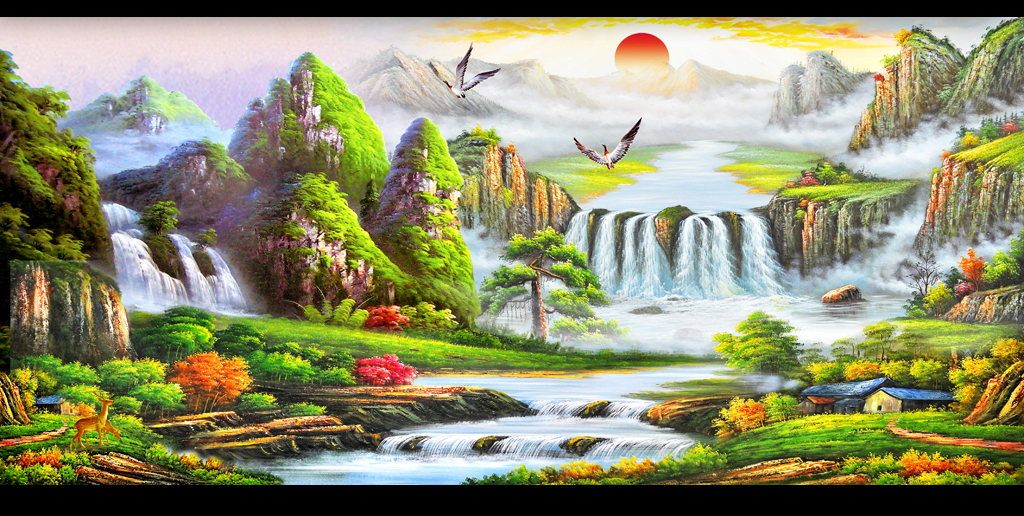 油画壁画聚宝盆山水风景画装饰画  版权图片 设计师 : 2869317094qq