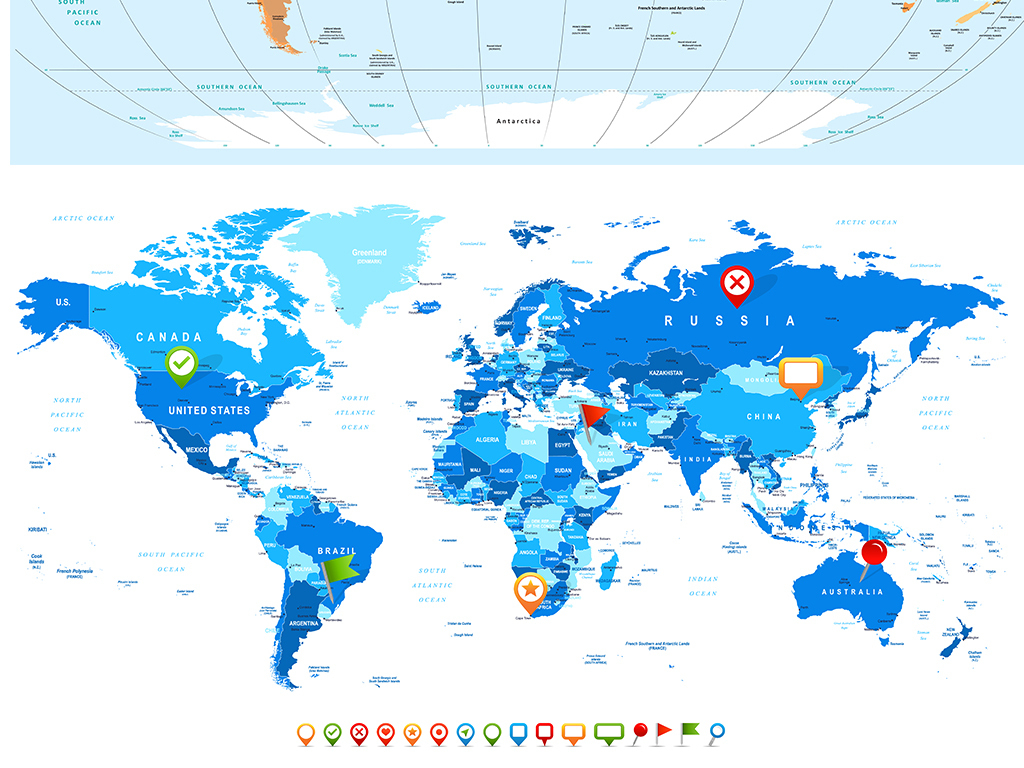 彩色世界地图高清印刷格式印刷模板
