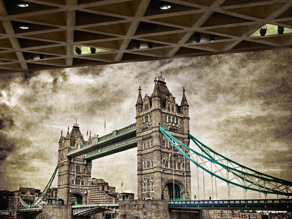 高清复古怀旧伦敦塔桥背景墙