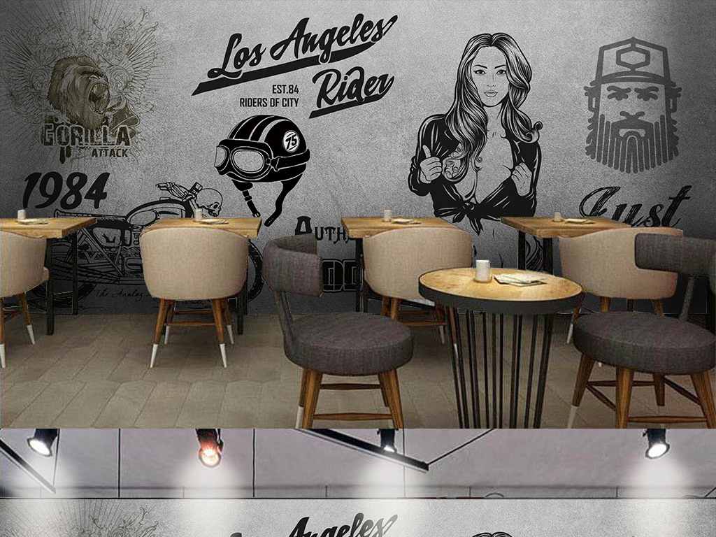 手绘咖啡店酒吧西餐厅网吧网咖ktv潮流机车美女复古背景手绘背景手绘