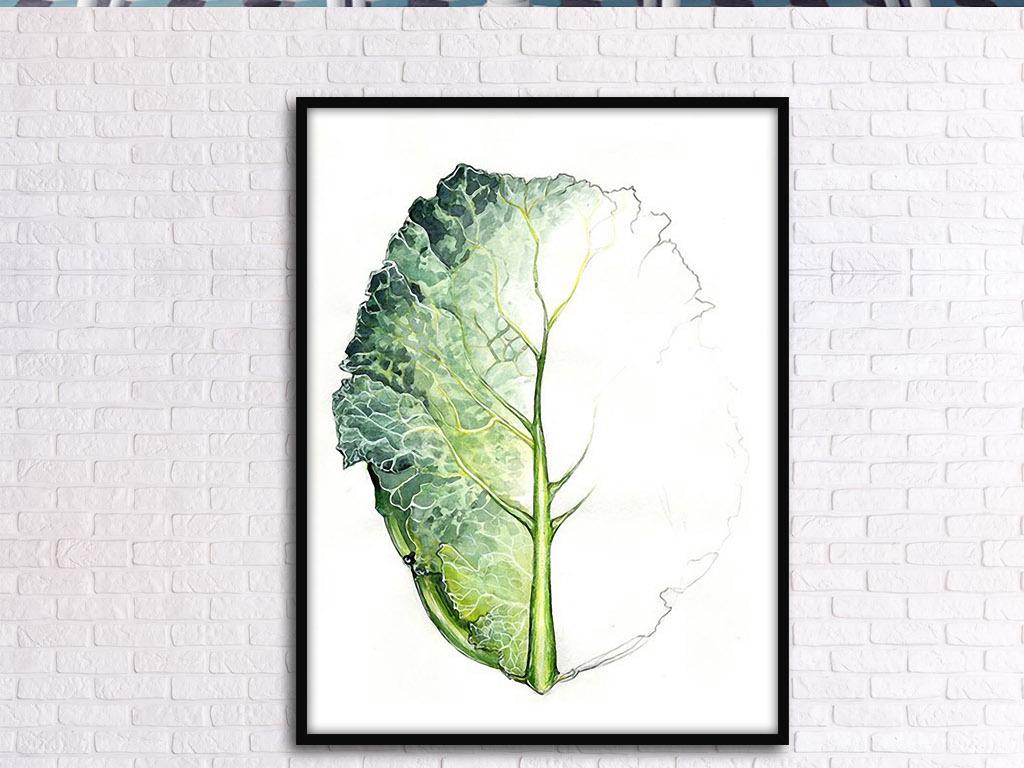 白头和黑夜菜叶抽象手绘欧式现代室内装饰画