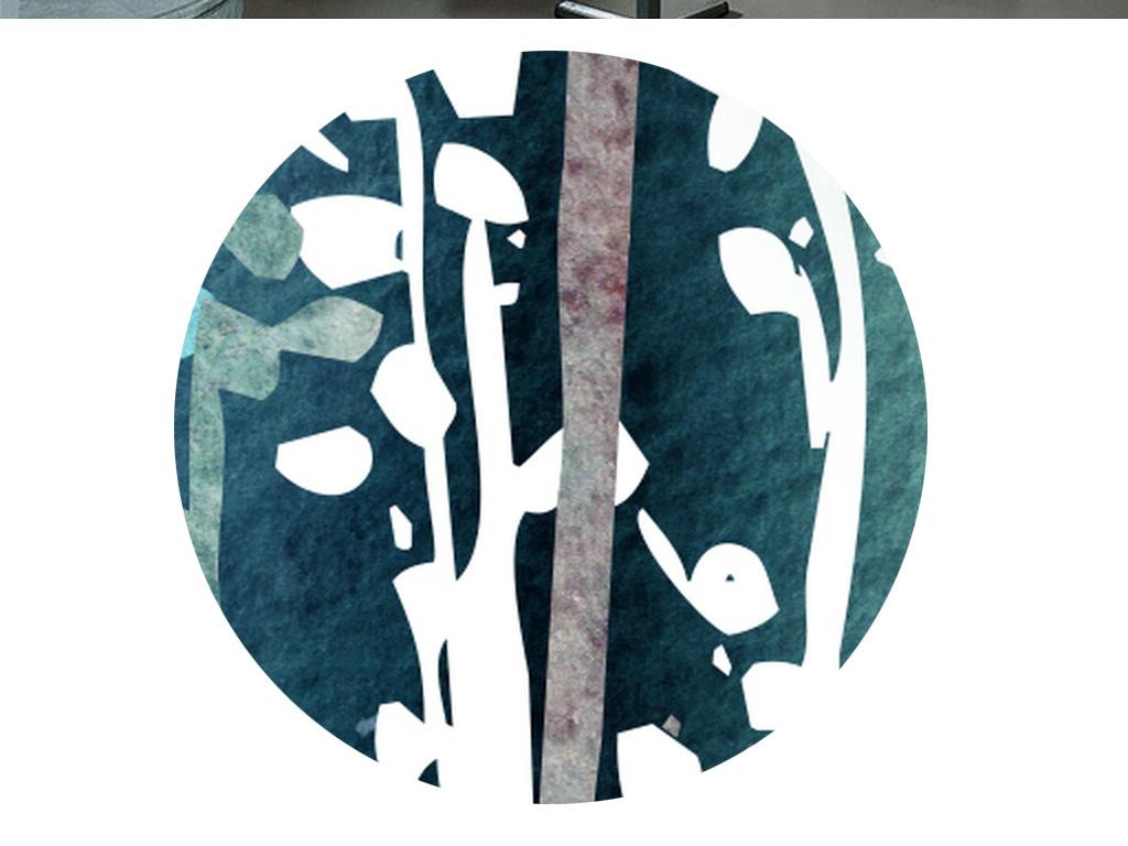 北欧简约手绘水彩抽象树木无框画装饰画