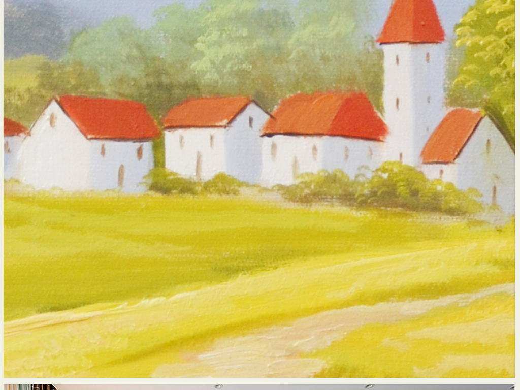 纯手绘乡村田园风景油画艺术背景壁画