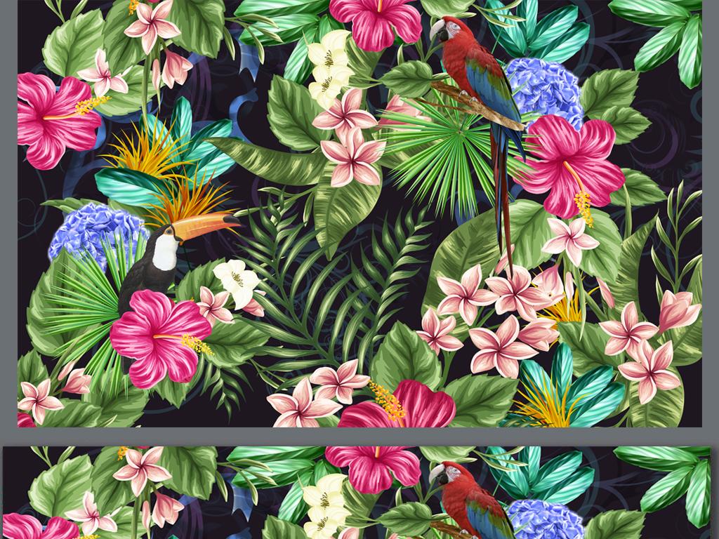 植物手绘卡通餐厅背景墙田园背景墙森林森林背景热带雨林植物热带雨林