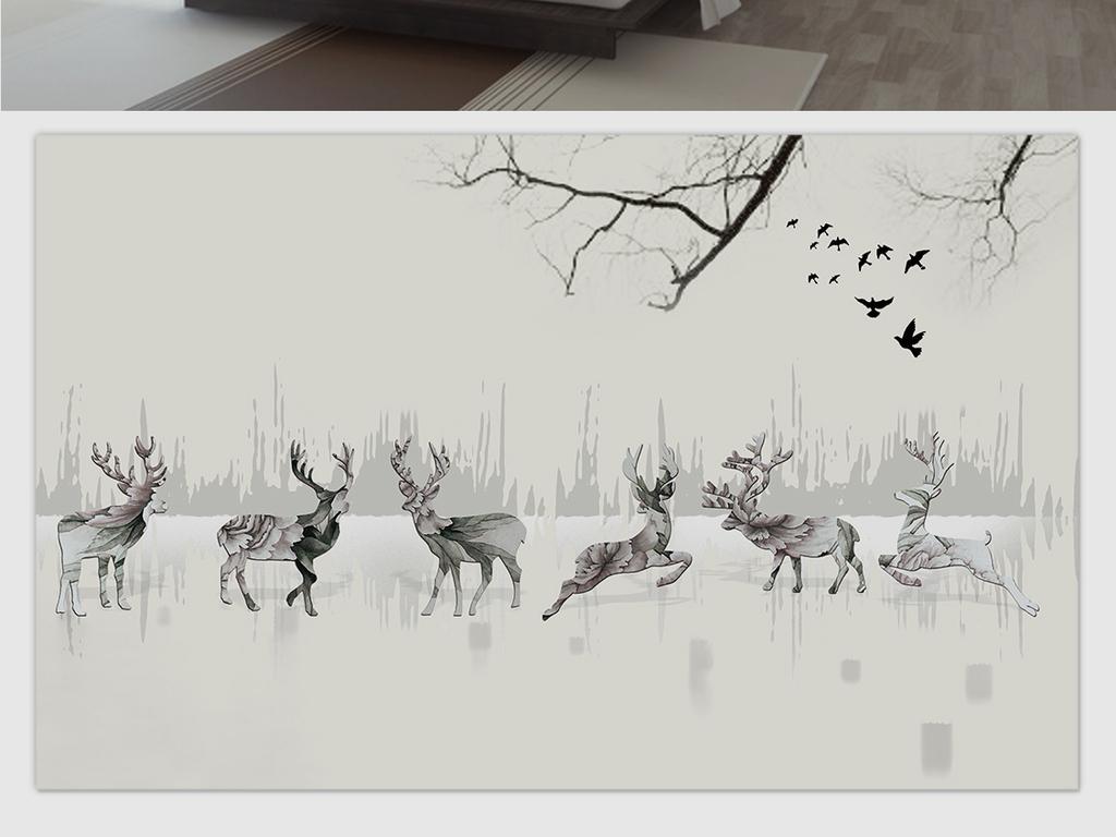 电视背景墙 手绘电视背景墙 > 抽象复古花纹小鹿丛林山水电视背景墙