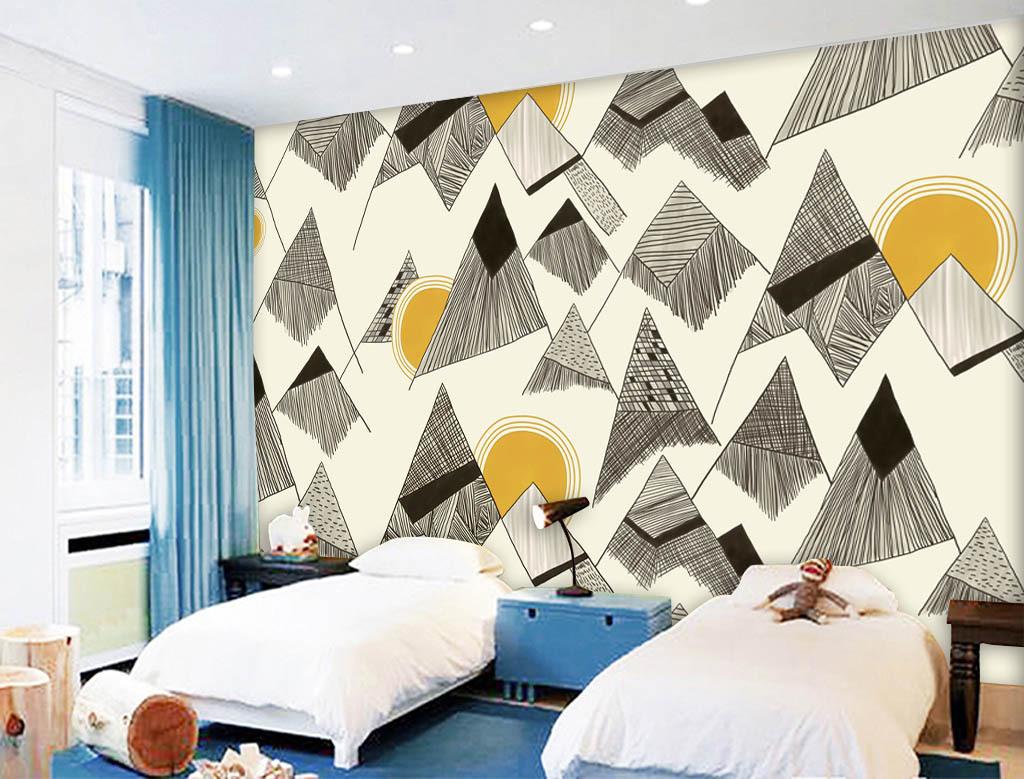 现代时尚素雅手绘几何图形背景墙
