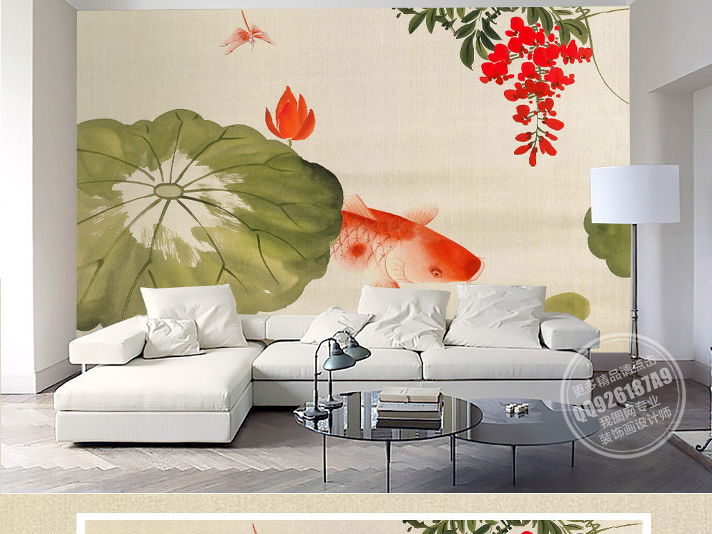 中式背景墙壁墙壁背景水墨鲤鱼鲤鱼背景水墨中式手绘荷花工笔荷花荷花