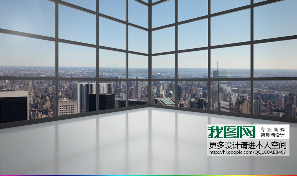 3d立体阳台落地窗城市高楼壁画电视背景墙