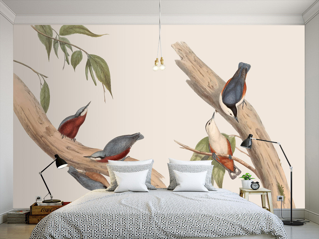 新中式手绘树枝飞鸟墙纸