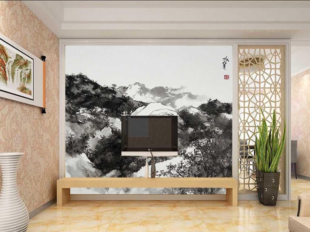手绘水墨山水装饰背景墙