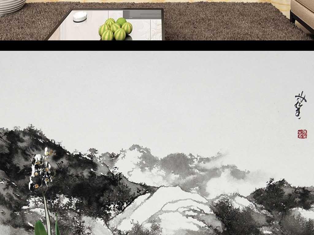 画 电视背景墙 手绘电视背景墙 > 手绘水墨山水装饰背景墙  版权图片