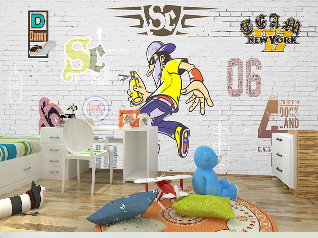 欧式复古砖墙涂鸦儿童房背景