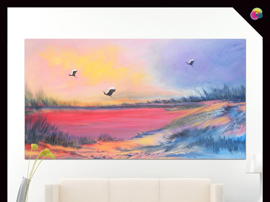 唯美色彩艺术酒店油画风景北欧时尚宜家美克美家海鸥晚霞浪漫欧式风景
