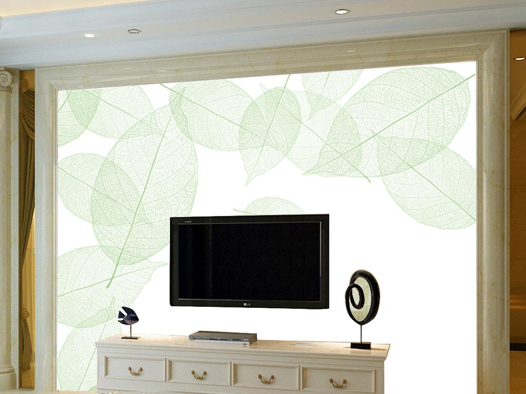 手绘树叶现代简约背景墙装饰欧式背景