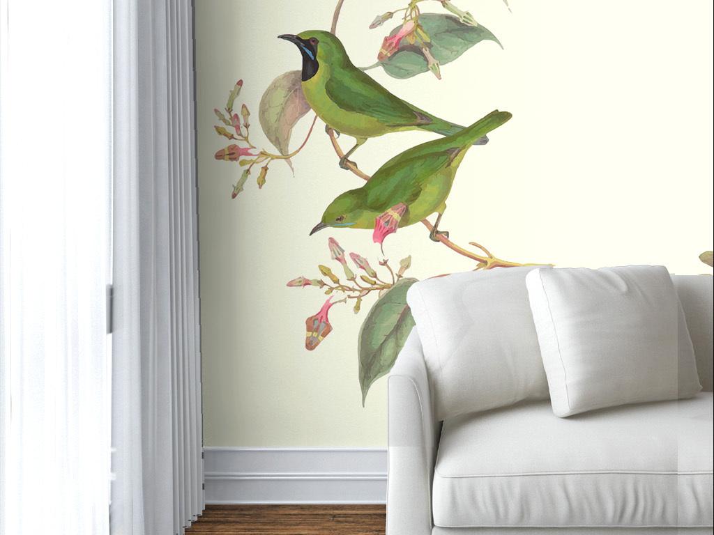 新中式手绘花鸟藤蔓墙纸