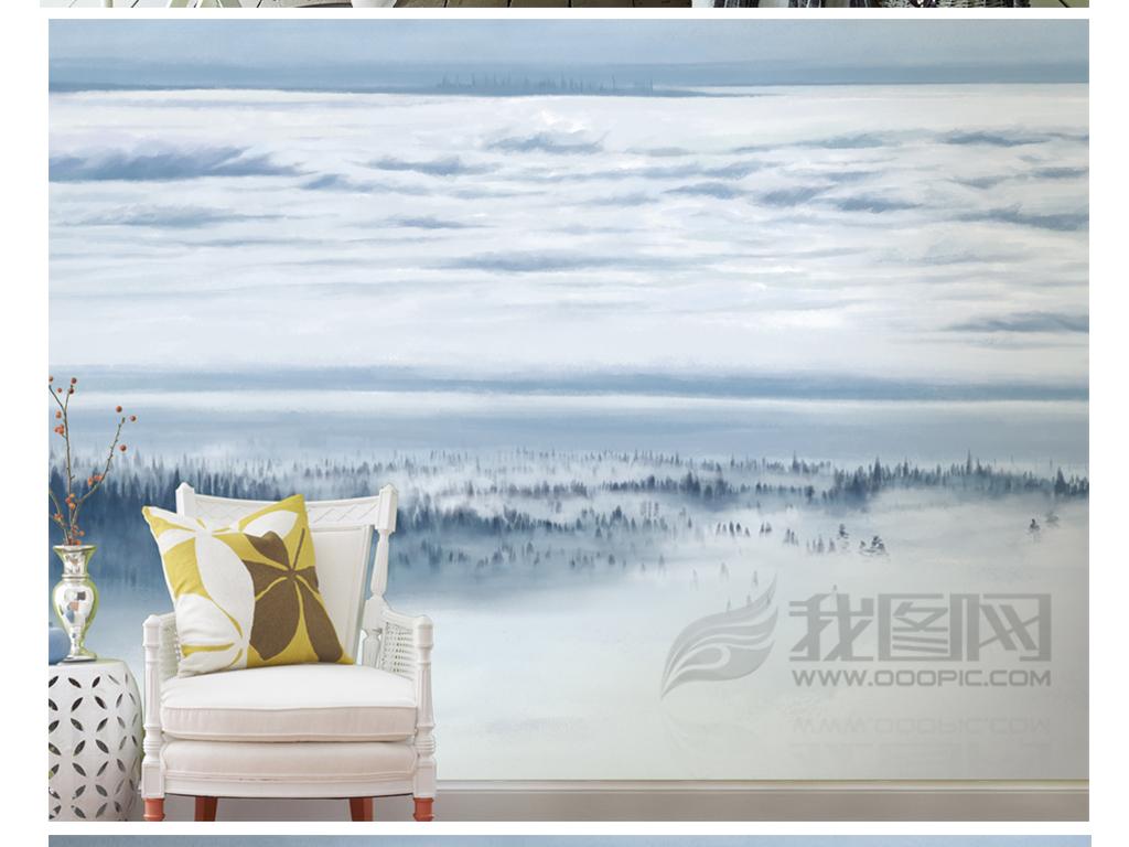 手绘北欧简约风意境背景墙装饰画