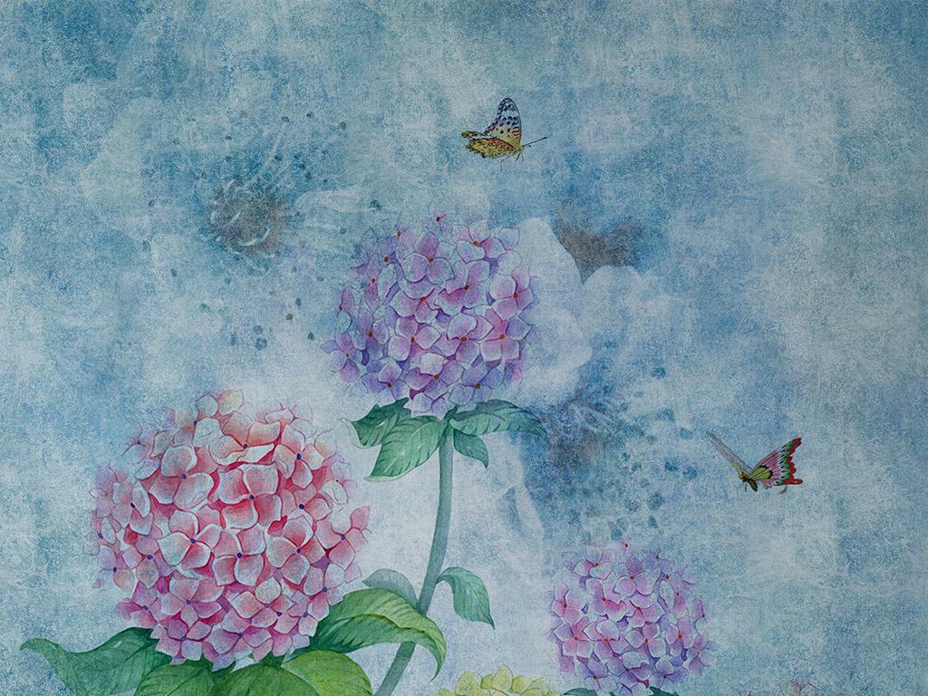 欧式怀旧手绘绣球花背景墙壁画