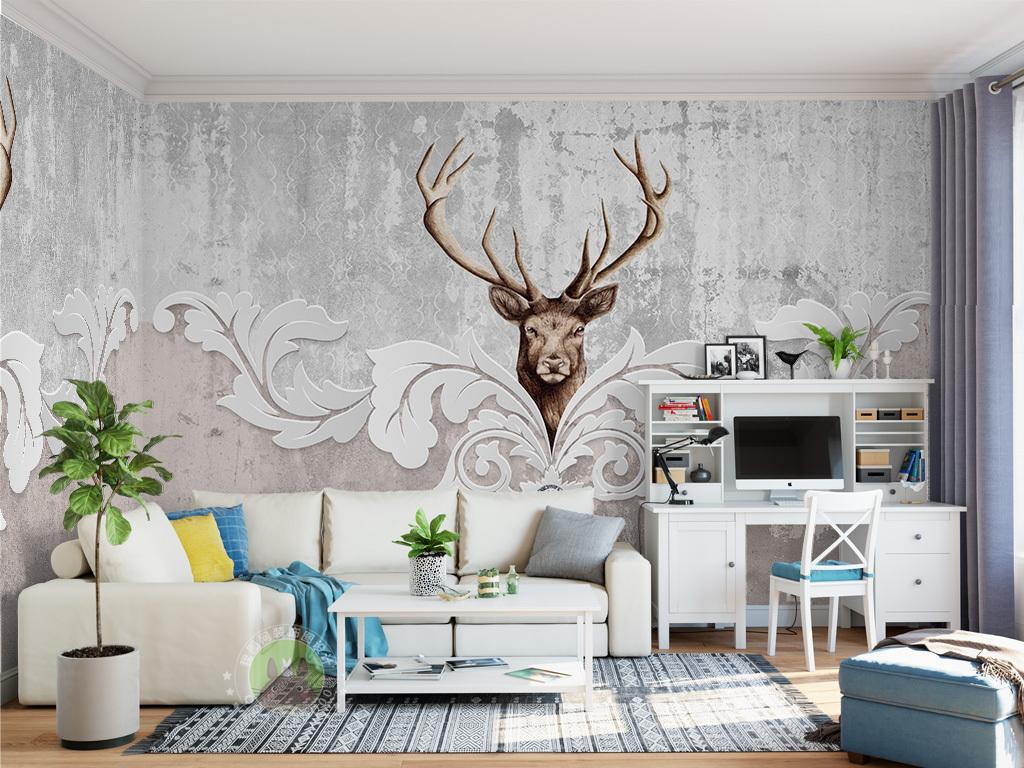 北欧麋鹿花纹背景墙装饰画图片