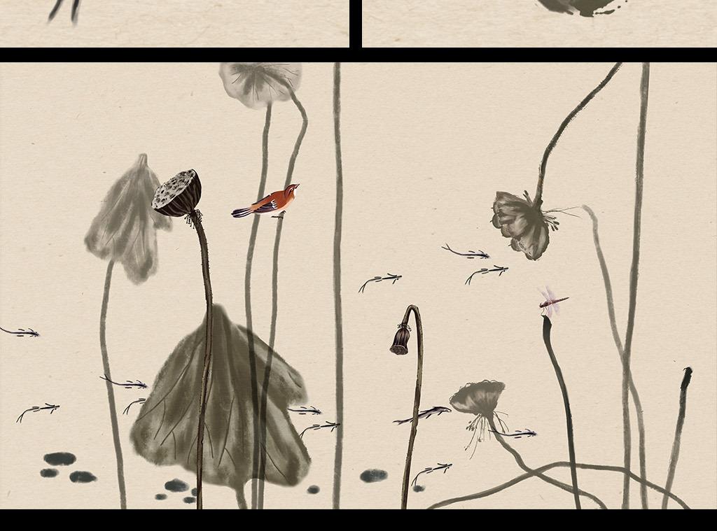 手绘新中式水墨荷花花鸟背景墙壁画