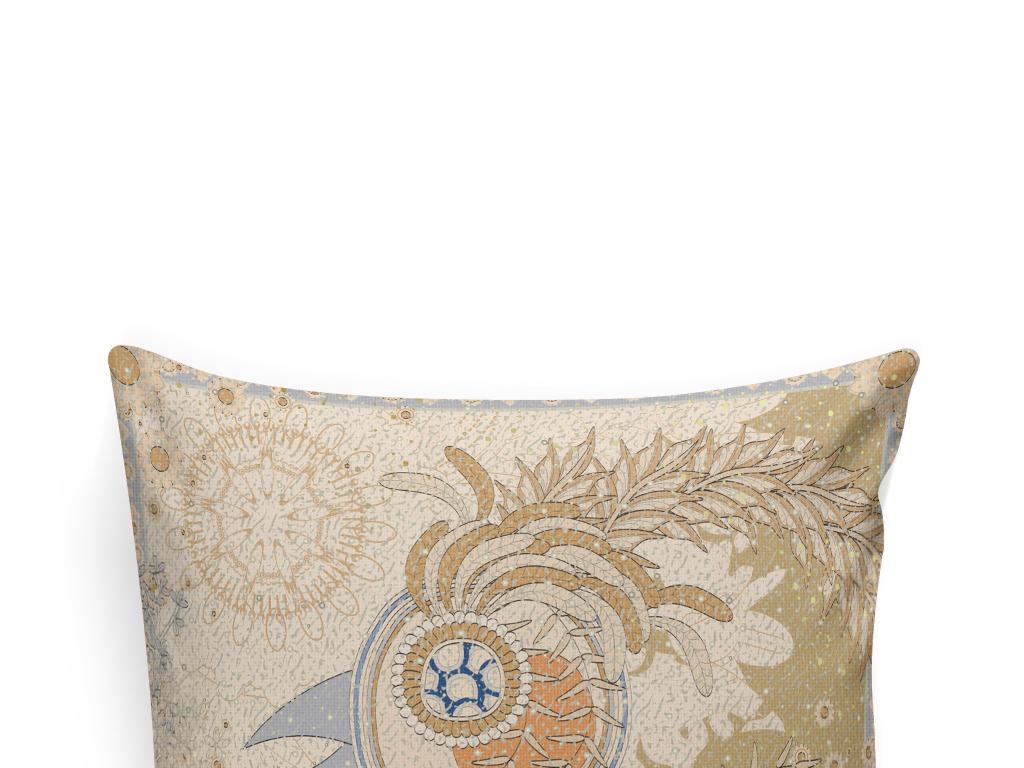 抱枕图案设计鸟欧式花纹