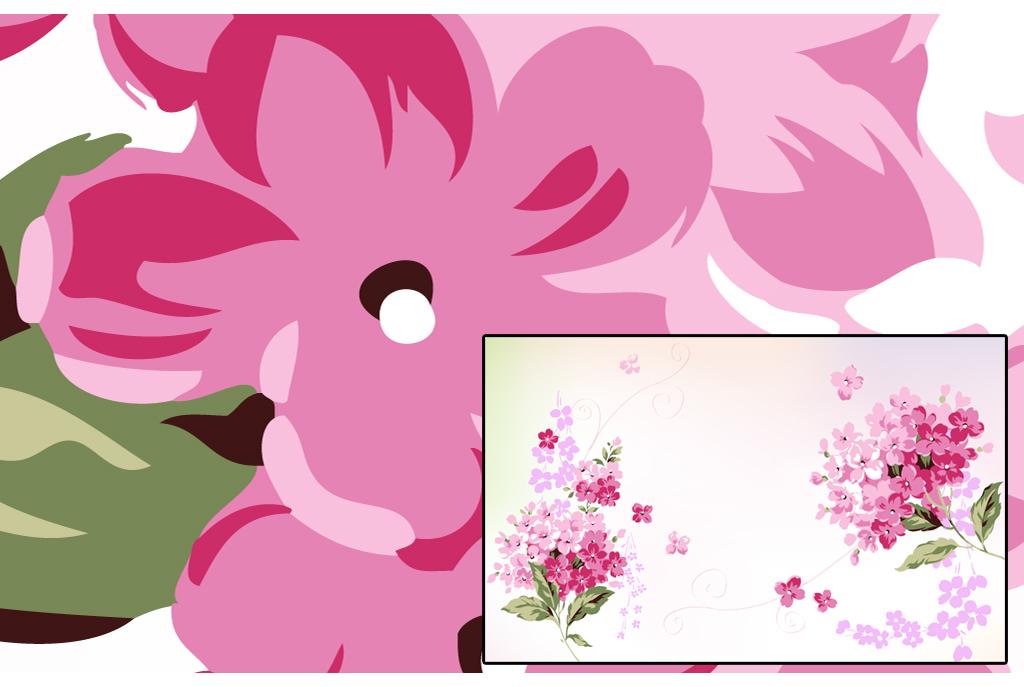唯美手绘梦幻花卉粉色碎花背景墙