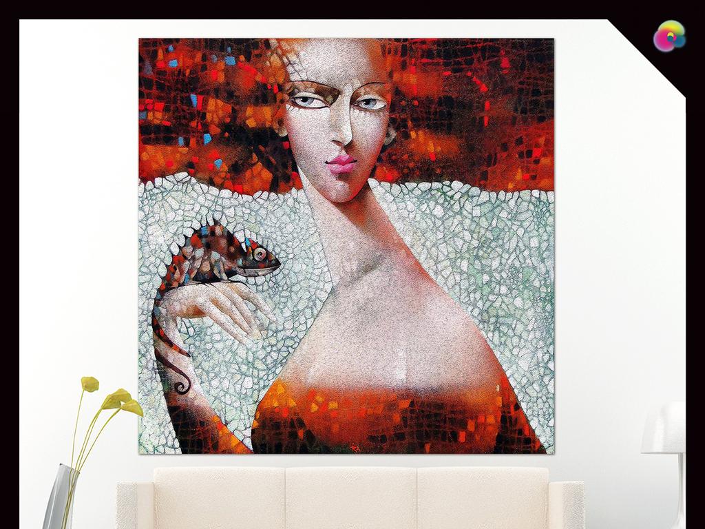 手绘睡美人咖啡厅简约3d欧美餐厅红唇美女插画古典美女欧美复古手绘